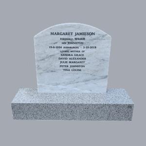 L10 Carrara marble headstone Mountain grey base