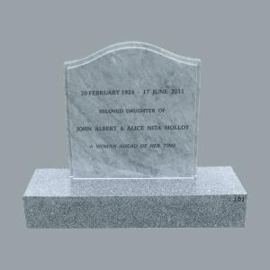 L11 Carrara marble headstone and mountain grey granite base