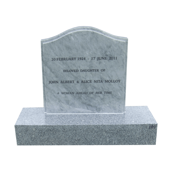 L11 Carrara marble headstone and mountain grey granite base