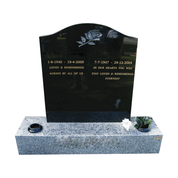 L12 Black granite headstone and Harcourt grey base
