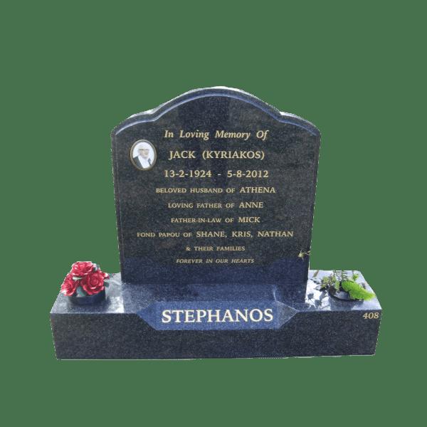 L2 Noble Grey granite headstone and base