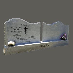 L4 Moon White Granite Double Headstone