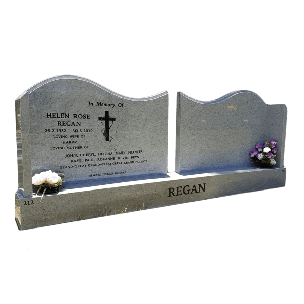 L4 Moon White Granite Double Headstone