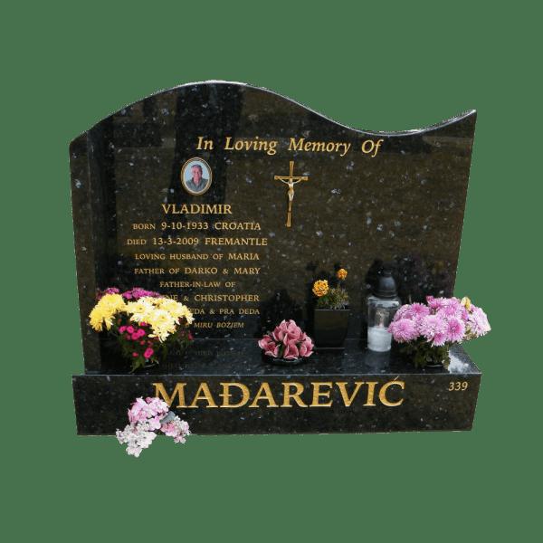 L4 Emerald pearl granite headstone and base