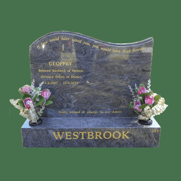 L4 wave headstone Blue opal granite and base