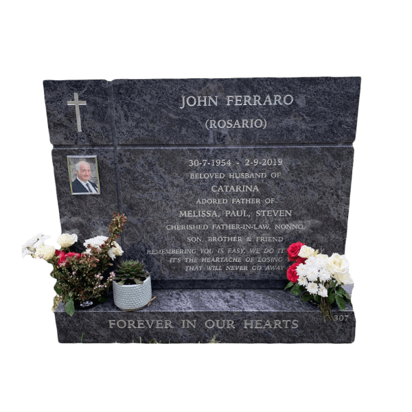 L45 Blue opal granite headstone, floating base.