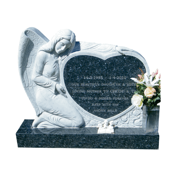 L46 Carrara marble angel with blue pearl granite base and heart