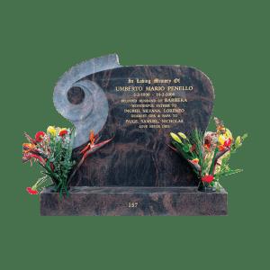 L47 Sun red granite headstone and base