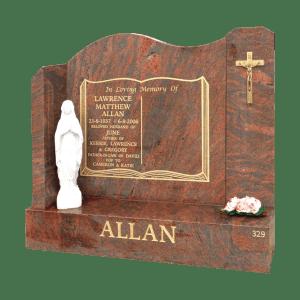 L5 Multicolour Red granite headstone and base