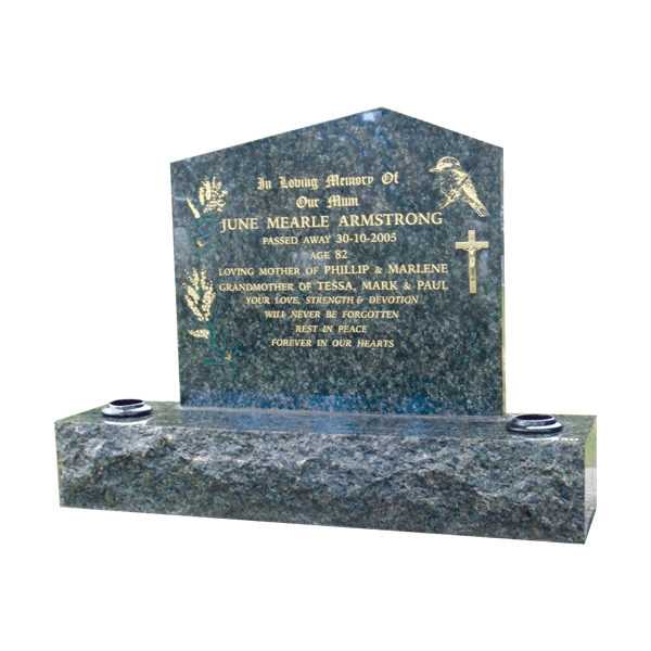 L6 Blue pearl granite headstone and base