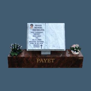 L7 Carrara marble book on a Ruby red granite base