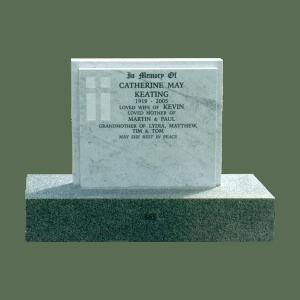 L9 Carrara Marble headstone and mountain grey granite base